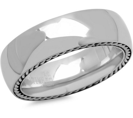 Forza Men's Steel Chain Inlay Ring