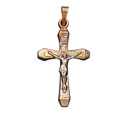 14K Yellow Gold Cross Pendant with 14K WhiteGold Crucifix