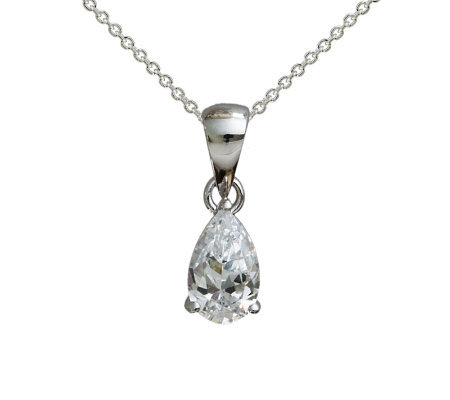 Diamonique 1.00 cttw Pear Pendant w/ Chain, Platinum Clad