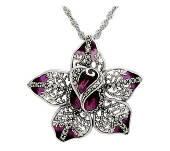 Suspicion Sterling Marcasite & Epoxy Flower Pendant with Chain - J112480