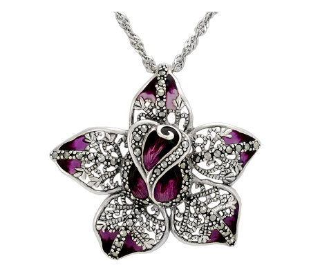Suspicion Sterling Marcasite & Epoxy Flower Pendant with Chain