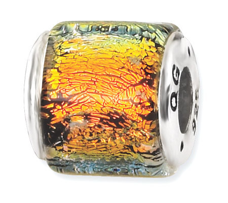 Prerogatives Sterling Orange/Yellow Dichroic Glass Square Bead