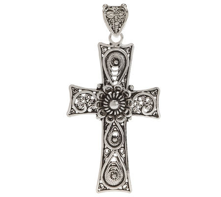 Artisan Crafted Sterling Telkari Filigree Cross Pendant