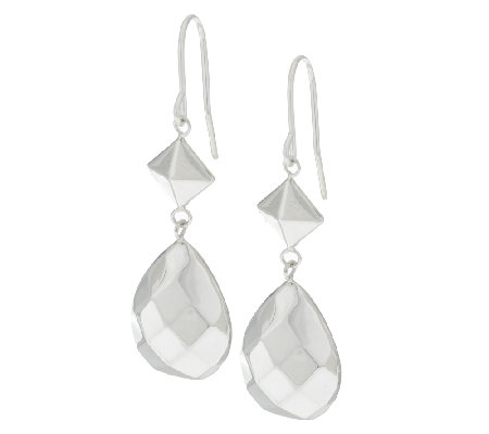 Sterling Faceted Pear Shape Dangle Earrings