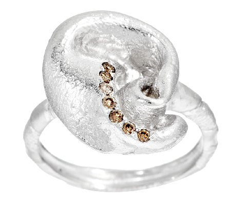 Mary Esses Sterling Knot Ring w/ Diamond Accents