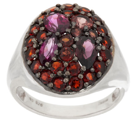 Mozambique Garnet Multi-Cut Sterling Silver Ring, 2.55 cttw