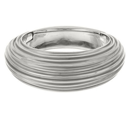 """As Is"" Italian Silver Sterling Average Ribbed Satin Bangle"