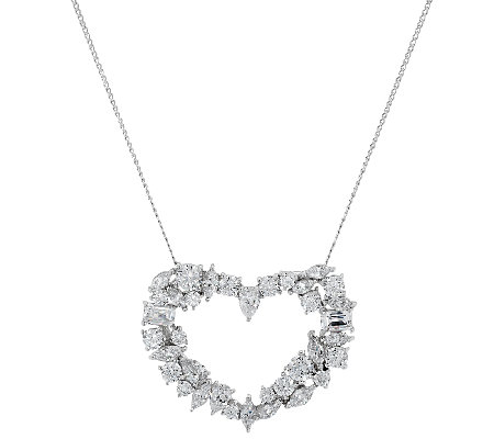 TOVA for Diamonique Mixed Cut Heart Pendant w/ Chain, Sterling