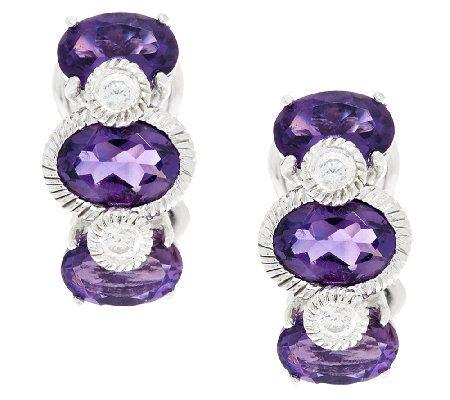 Judith Ripka Sterling & Diamonique Amethyst Huggie Hoops
