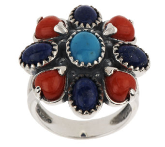 American West Multi-Gemstone Cluster Design Sterling Ring - J294980