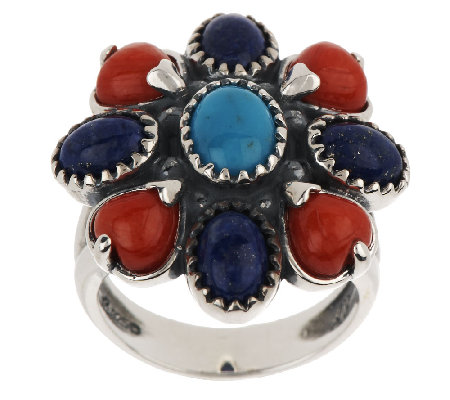 American West Multi-Gemstone Cluster Design Sterling Ring