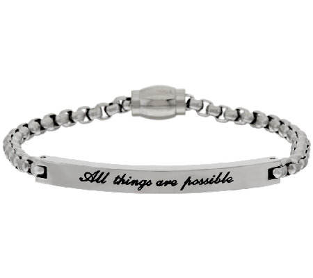 "Stainless Steel ""All Things are Possible"" ID Bracelet w/ Magnetic Clasp"