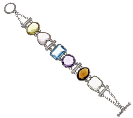 "Judith Ripka Sterling 62.00 ct tw Multi-gemstone 8"" Bracelet"