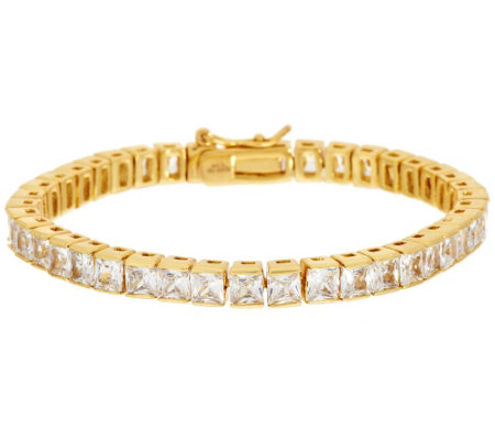 Stainless Steel Princess Cut Crystal Tennis Bracelet
