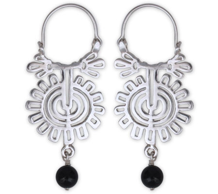 Novica Artisan Crafted OnyxHoop Earrings