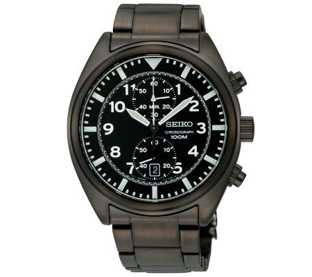 Seiko Men's Chronograph Black Dial Watch