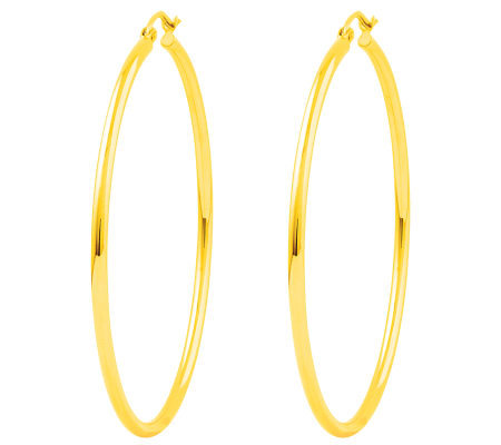 "Polished 2"" Round Hoop Earrings, 14K"
