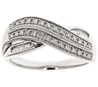 Crossover Diamond Ring, Sterling, 1/4cttwby Affinity - J310180