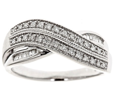 Crossover Diamond Ring, Sterling, 1/4cttw by Affinity
