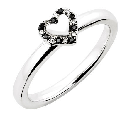 Simply Stacks Sterling Black & White Diamond Heart Ring