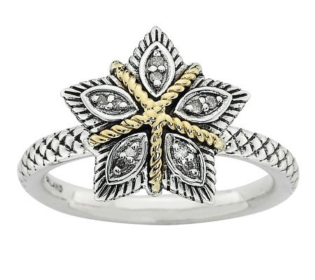 Simply Stacks Sterling Two-Tone Diamond AccentFlower Ring