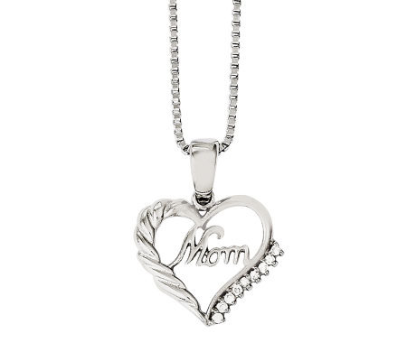 "Stainless Steel Open Heart ""Mom"" Pendant w/ 18""Chain"