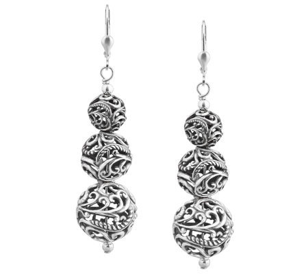 Carolyn Pollack Sterling Graduated Bead Drop Earrings