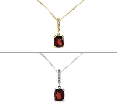 "Gemstone & Diamond-Accent Princess-Cut Pendantw/ 18"" Chain"