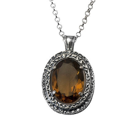 Or Paz Sterling Silver 4.30cts Whiskey Quartz Pendant w/ Chai