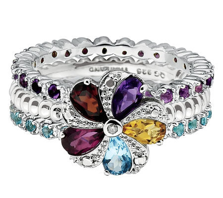 Simply Stacks Sterling Multi-Gemstone Ring Set