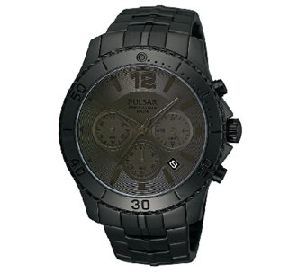Pulsar Men's Black Dial/Case Chronograph Watch - J316280