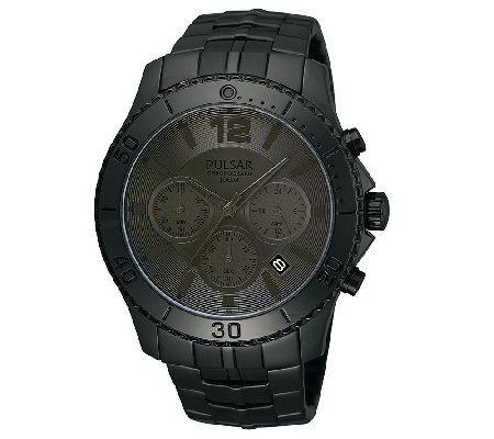 Pulsar Men's Black Dial/Case Chronograph Watch