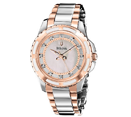Bulova Ladies Two-Tone Diamond Dial Bracelet Watch, Rosetone