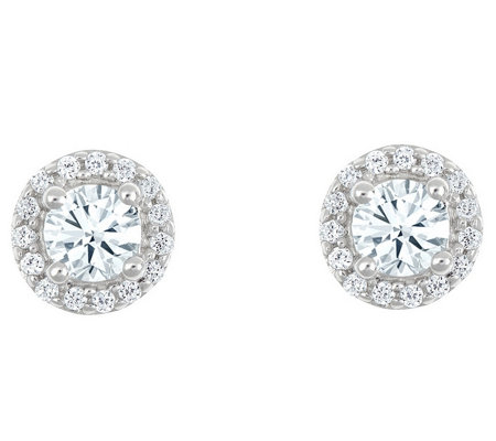 Round Diamond Halo Stud Earrings, 14K, 3/4 cttwby Affinity