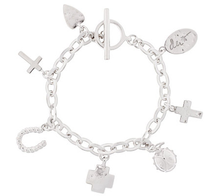 "Shawn's ""Courage Charms"" Sterling 7-1/4"" Bracelet 32.4g"