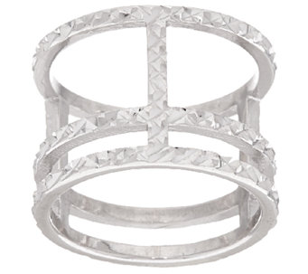 Vicenza Silver Sterling Diamond Cut Triple Bar Ring - J320280