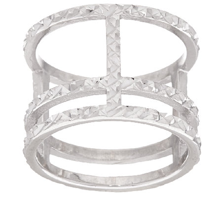 Italian Silver Sterling Diamond Cut Triple Bar Ring