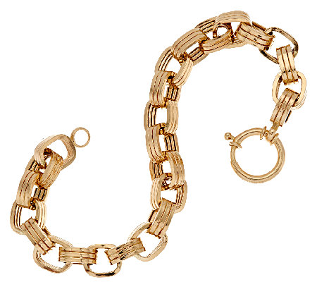 "14K Gold 6-3/4"" Polished Triple Rolo Link Bracelet, 7.6g"