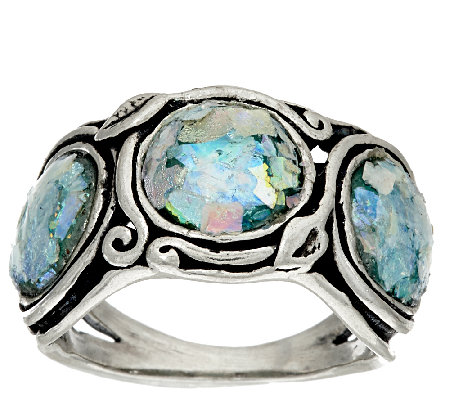 Sterling Silver Three Stone Roman Glass Band Ring by Or Paz