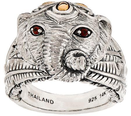 JAI Sterling & 14K Elephant Band Ring w/ Garnet Accents