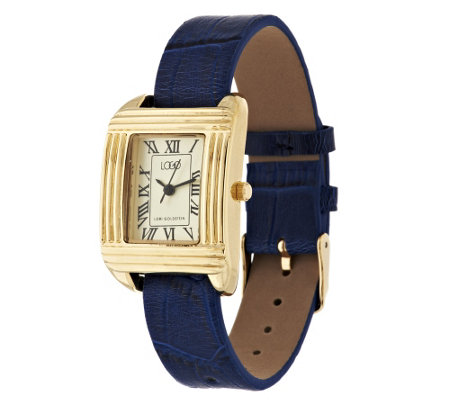 """As Is"" LOGO Links by Lori Goldstein Inter changeable Leather Watch"