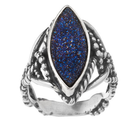 """As Is"" Carolyn Pollack Denim & Drusy Sterling Ring"