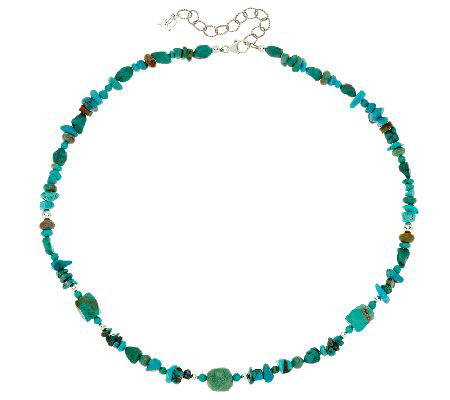 "Shades of Turquoise Bead 21"" Sterling Necklace by American West"