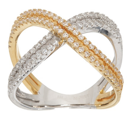 Diamonique Two-Tone X-Design Ring, Sterling