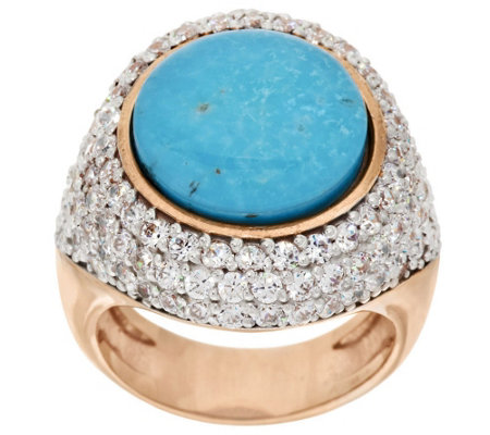 """As Is"" Bronze Turquoise Doublet & White Topaz Ring by Bronzo Italia"
