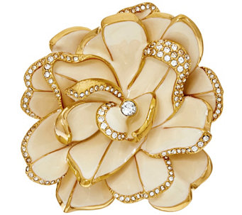 """As Is"" Joan Rivers Limited Edition Ivory Pave' Gardenia Pin - J327880"
