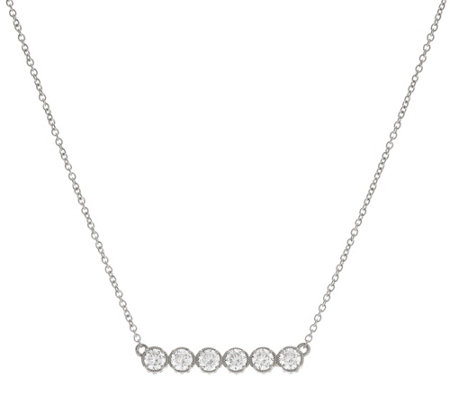 Diamonique Textured Bar Design Necklace, Sterl or 14K Clad