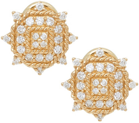 Judith Ripka 14K Gold 1/2 cttw Diamond Earrings