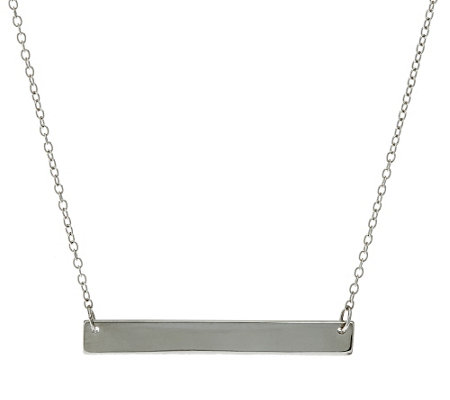 """As Is"" Sterling 18"" Polished Bar Station Necklace"