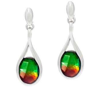 Ammolite Triplet Sterling Silver Drop Earrings - J330880